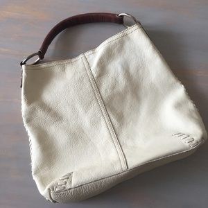 Lucky Brand Cream Leather Hobo Bag OS
